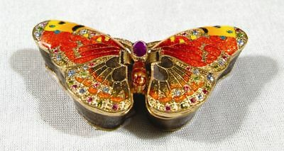 Golden Butterfly Pewter Austrian Crystal Jewelry Box