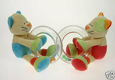 *NEW baby safe soft plush toy CAT RATTLE baby girl GIFT