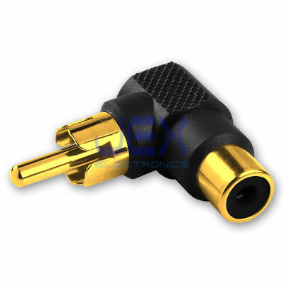 Right Angle Audio/Video RCA/Phono Male to Female Adapter 90 Degree Gold Plated