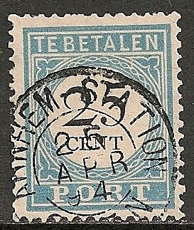 Netherlands 1881 NVPH Due 11fcD  plate error  CANC  VF