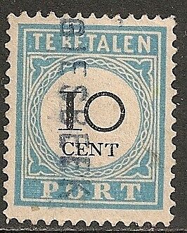Netherlands 1881 NVPH Due 7fb plate error  CANC  VF