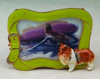 COLLIE PEWTER AUSTRIAN CRYSTAL COLLECTOR PICTURE FRAME