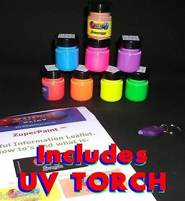 8 colours x 30ml Acrylic Fluorescent UV Blacklight PRO Paints with UV torch