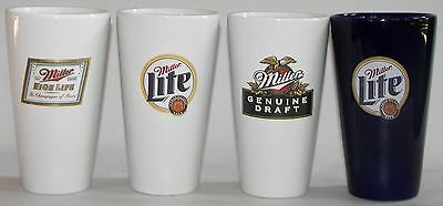 Miller beer, brewery ceramic pint glasses, 4 different