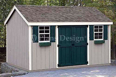8 x 12 Storage Utility Garden Shed Plans /  Building Blueprints, Design #10812