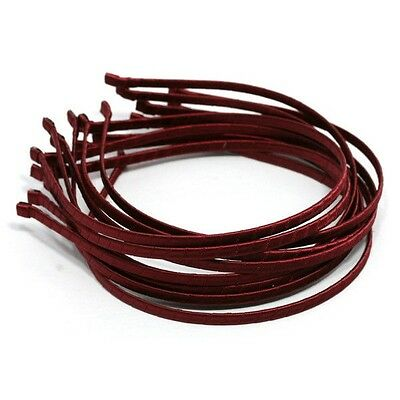Wholesale LOTS HEADBANDS 12 METAL HAIRBAND 5mm BURGUNDY