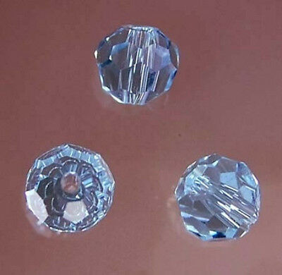 4mm Faceted Aquamarine Crystal Round Beads 98pcs