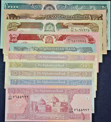 Afghanistan 1979-2002 UNC Paper Money Banknote 8pc Set