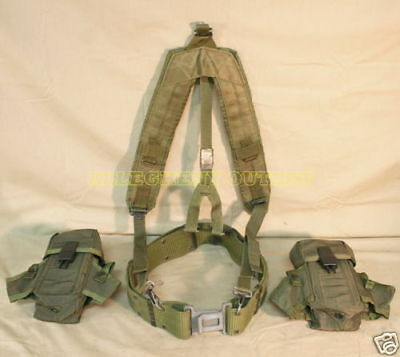 US Military LC-2 ALICE Pistol Belt MEDIUM, 2 Ammo Pouchs, Y Suspenders VGC