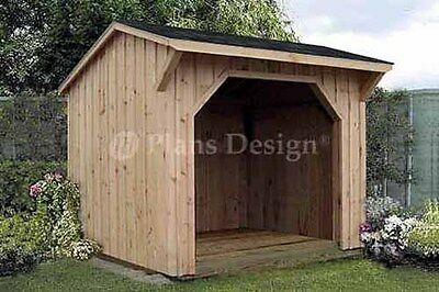8' x 8' Firewood Storage Shed Plans, Saltbox Roof 70808