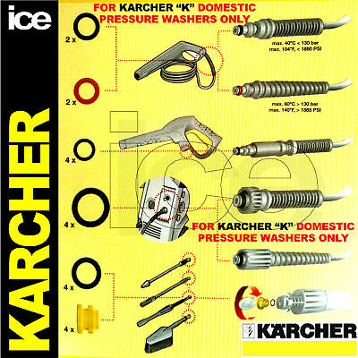 Karcher Genuine Domestic K1 K2 K3 K4 K5 K6 K7 Washer Hose Lance O-Ring Seals Kit