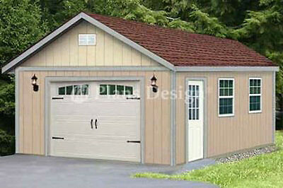 16 x 28 Classic Gable Roof Car Garage Shed Plans, Design #51628