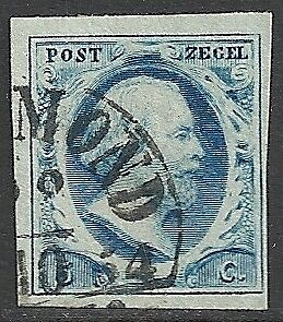 Netherlands 1852 NVPH 1 plate II position 54  CANC  VF