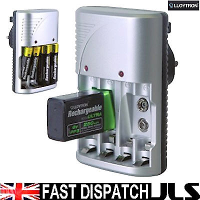 LLOYTRON Charger for AAA AA 9V PP3 Batteries NiMh NiCd
