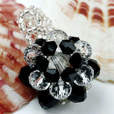 Dark Black Crystal Glass Flower Ring Faceted 1Pc Size7