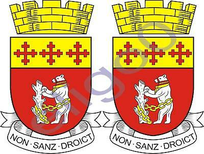 2x westriding UNITED KINGDOM coat of arms stickers