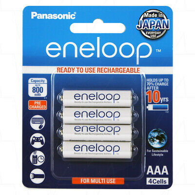 Panasonic Eneloop AAA NiMH Rechargeable Batteries x 4 - MADE IN JAPAN