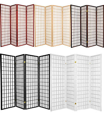 4 & 3 Panel Wood Flowered Shoji Room Divider Screen