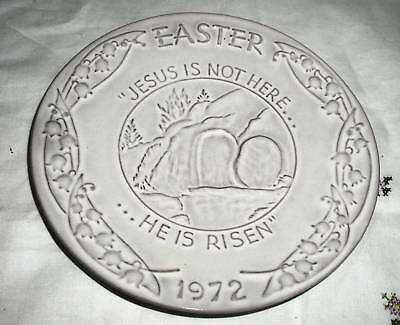 """Jesus is Not Here... He is Risen"" Easter 1972, (7.5"" Ceramic Plate)"