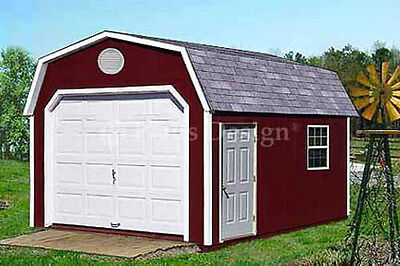 12' x 16' Garage / Garden Storage Shed Barn Plans, Material List Included #31216