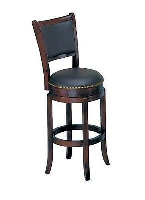 "Soft Leather Swivel Bar Stool With Backrest 29""H"