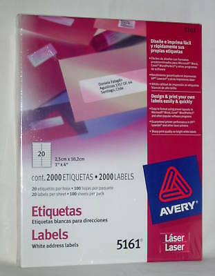 "AVERY White Address 1""x 4"" Laser Labels #5161 Box 2000 Brand New Fast Shipping"