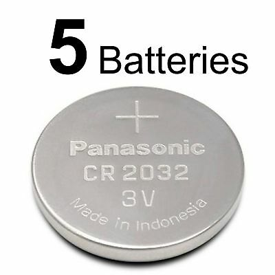 5 PANASONIC CR2032 CR 2032 3v Lithium Battery Expiration Date 2028