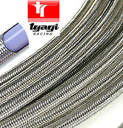 """-6 AN06 5/16"""" 8mm Stainless Steel Braided Fuel Hose Pipe PTFE Teflon  1 Meter"""