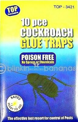 10 Cockroach Traps Baited Spider Ant Woodlice Earwig Crawling Glue Killer 05C