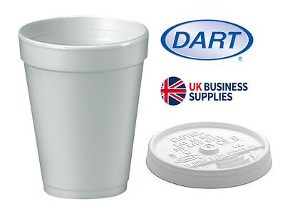 10oz White  Dart Polystyrene Insulated Foam Poly Cups 1000's  UKB410