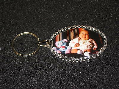 Oval Keyrings photo insert keychain double sided (100)