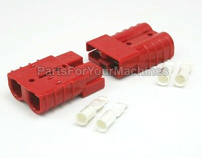 2 CONNECTOR PLUGS w/ 6 GAUGE CONTACTS, 50A, ANDERSON, SMALL RED, WINCHES, 4X4