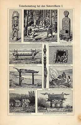 Old print ancient cemetery burial ground grave 1908