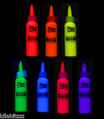 60ml Fluorescent UV Blacklight Fabric Paint - select from 7 colours