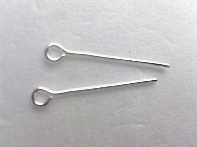 """1000 x 22mm  (0.9"""") Bright Silver Plated Straight  EYEPINS - Eye Pins Findings"""