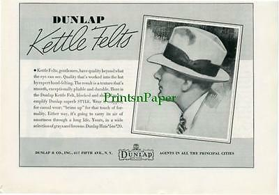 1936 Dunlap Kettle Felt Hat Print Original Ad Fifth Avenue New York Gentleman