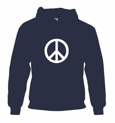 PEACE SIGN MENS HOODIE MED-2XL VINTAGE HIPPIE CND BAN THE ATOMIC BOMB  ANTI