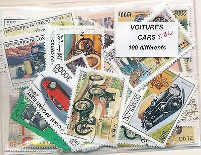ZBU - VOITURES : 100 TIMBRES DIFF. OBLI. Ts PAYS