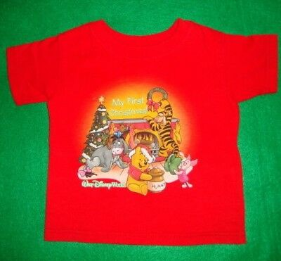 """DISNEY/MY/FIRST/CHRISTMAS/POOH~unisex~RED/T/SHIRT!(0/6MO) """"euc"""" REALLY/CUTE! @@"""
