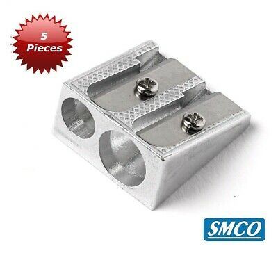 SMCO Pencil Sharpener Pocket-sized Metal 8mm Double Hole Pack of 5