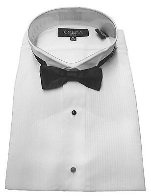 "NEW Men's Wing collar Tuxedo Shirt with Bow tie, 1/8"" pleat & Convertible Cuffs"