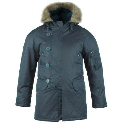 N3B Snorkel Air Force Parka Military Mens Jacket Cold Weather Coat Navy XS-3XL