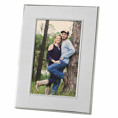 """Personalised Beaded Silver Plated Photo Frame 5"""" x 7"""" Any Message Engraved Free"""