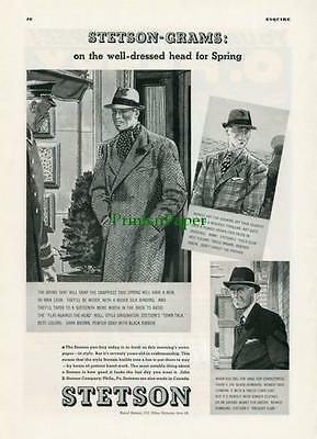 1936 Stetson Town Talk Tyrolean and Homburg Hat Ad