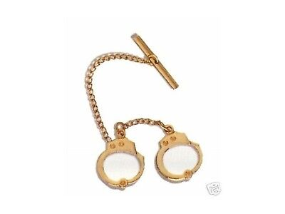Gold Police Sheriff Handcuff Tie Tack Not Tie Clip Bar