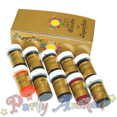 Any 10 Sugarflair Paste Food Colouring  / Icing Colours