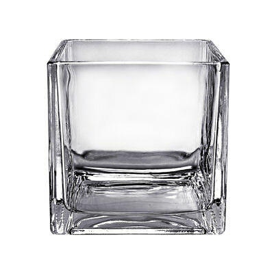 "6"" Clear Glass Cube Vase Square Candle Holder Wedding Floral Decor - 12 pcs"
