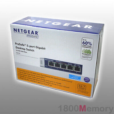 Netgear ProSafe 5 Port 1000Mbps Gigabit Ethernet Switch GS105 Fanless No Noise