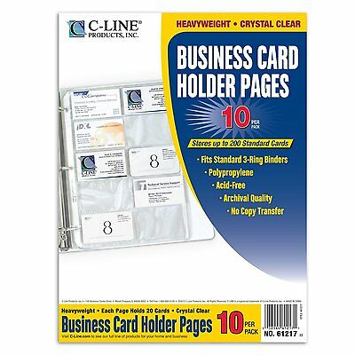 Avery C-Line Clear Business Card Holder 200 Capacity for Binder 8 1/8 x 11 1/4