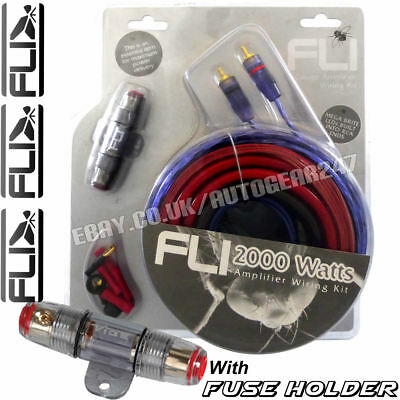 FLI AK4 4 Gauge 2000W Car Complete Amplifier Amp Wiring Kit with Fuse Holder